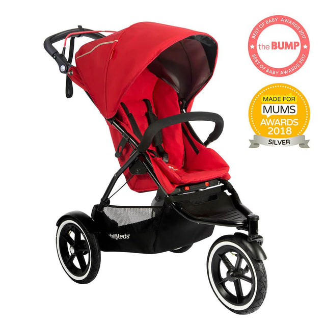 phil&teds sport v5 all terrain inline stroller with autostop award winning made for mums in cherry red 3qtr view_cherry