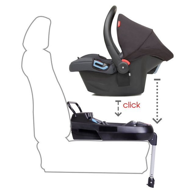 phil&teds alpha car seat installed with universal base_black/grey marl