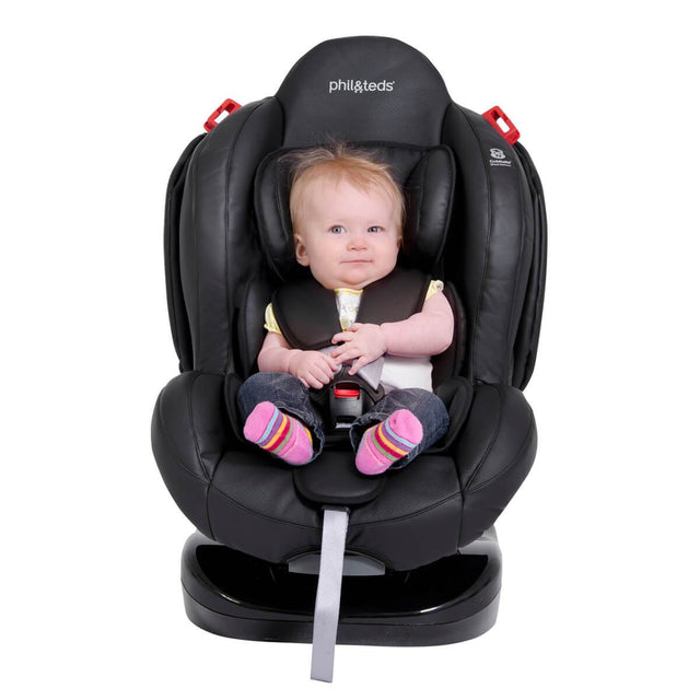 phil&teds evolution car seat with baby front view_black