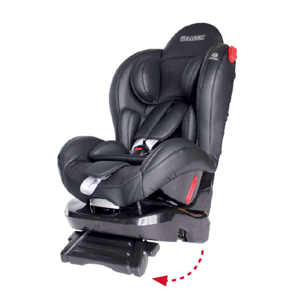 phil&teds evolution car seat with leg rest 3/4 view_black