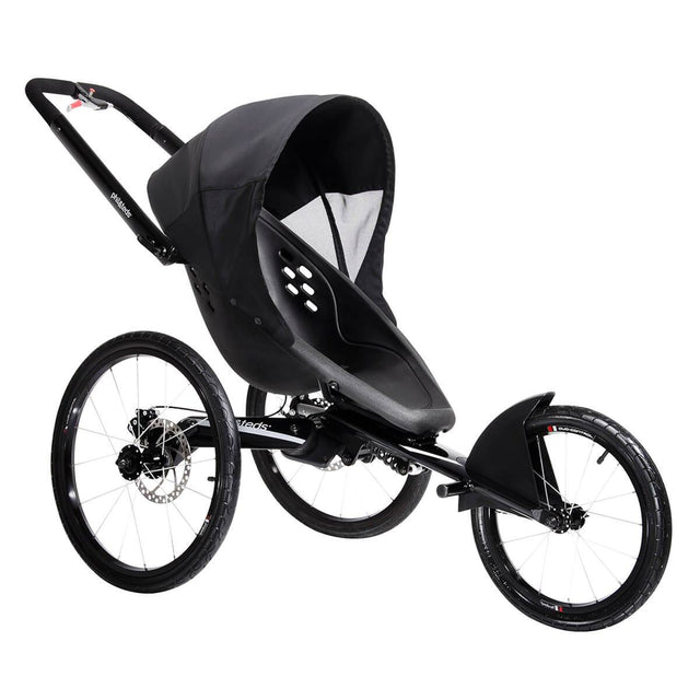 phil&teds sub 4 jogging stroller with sunhood attached 3/4 view_black