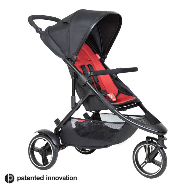 phil&teds dot buggy with chilli liner 3/4 view_chilli