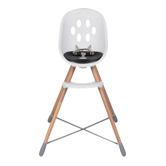 phil&teds award winning poppy wooden legged high chair showing front view with removed food tray for use at counters and table_black seat liner