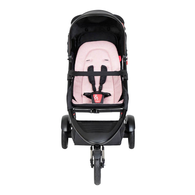phil&teds dot buggy with blush liner front view_blush