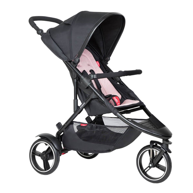 phil&teds dot buggy with blush liner 3/4 view_blush