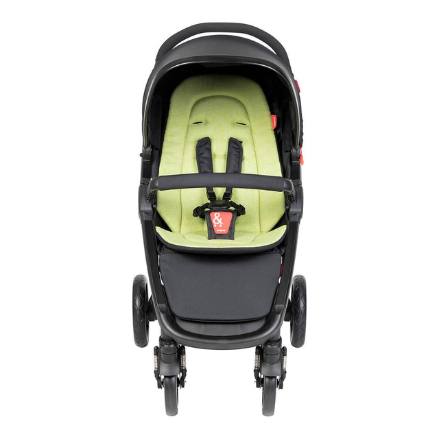 phil&teds compact smart buggy with apple liner front view_apple
