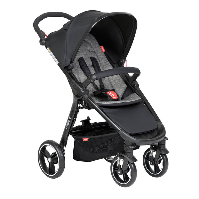 phil&teds compact smart buggy with charcoal liner 3/4 view_charcoal
