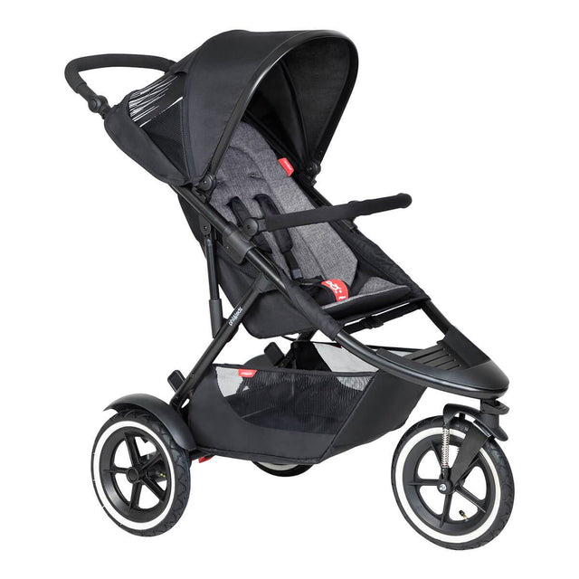 phil&teds sport inline buggy in charcoal grey 3qtr view_charcoal