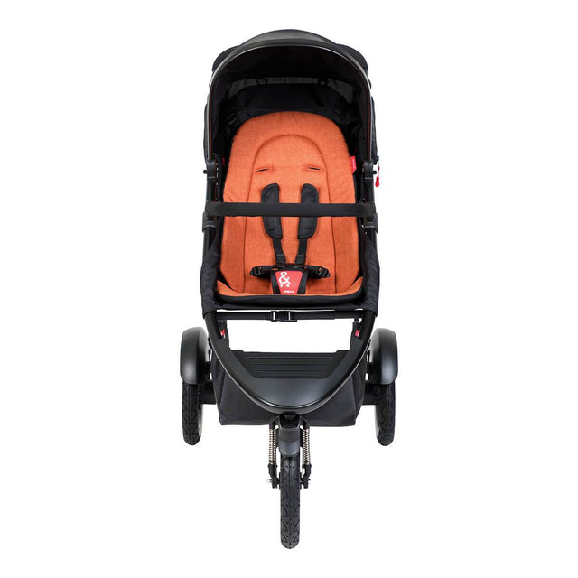 phil&teds sport inline buggy in rust orange front view_rust
