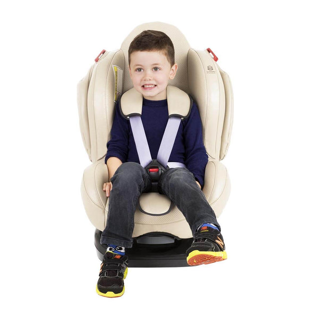 phil&teds evolution car seat in sand with toddler front view_sand
