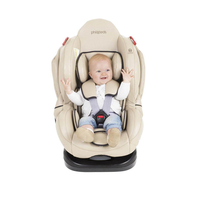 phil&teds evolution car seat in sand with baby front view_sand