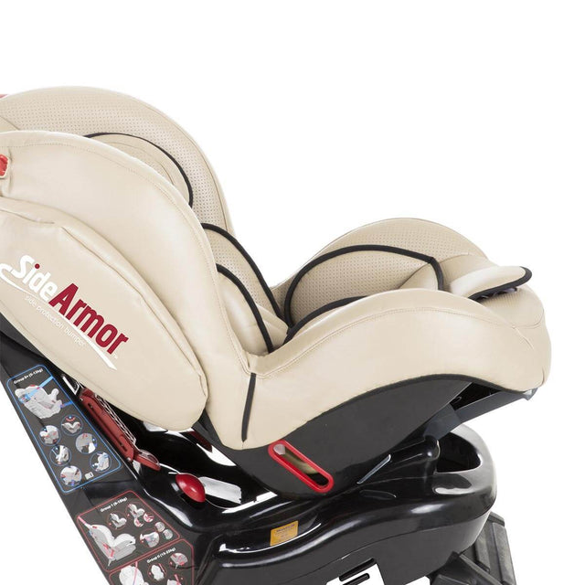 phil&teds evolution car seat in sand close reclined side view_sand