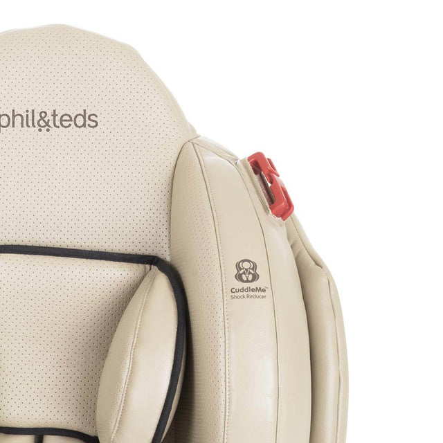 phil&teds evolution car seat in sand close up of cuddle me shock reducer front view_sand