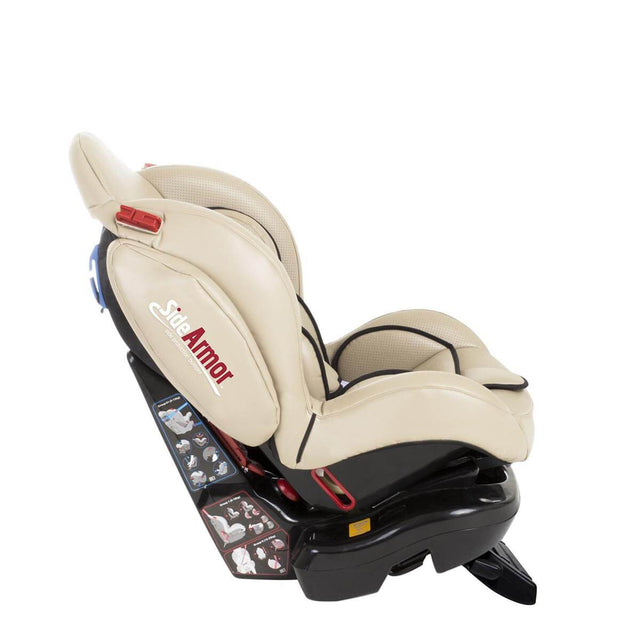 phil&teds evolution car seat in sand reclined side view_sand
