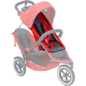 phil&teds sport v2 replacement seat in red / charcoal on sport buggy ghosted 3qtr view_red