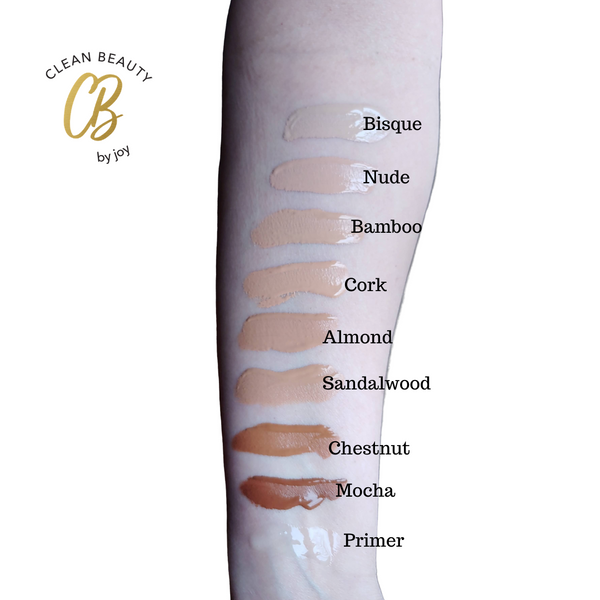 Liquid Foundation comes in Bisque, Nude, Bamboo, Cork, Almond, Sandalwood, Chestnut, or Mocha.