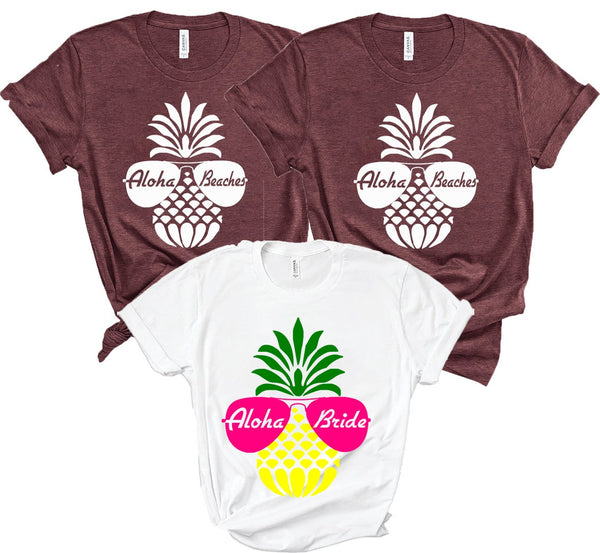 Aloha Beaches T Shirts - BachelorettePartyUs