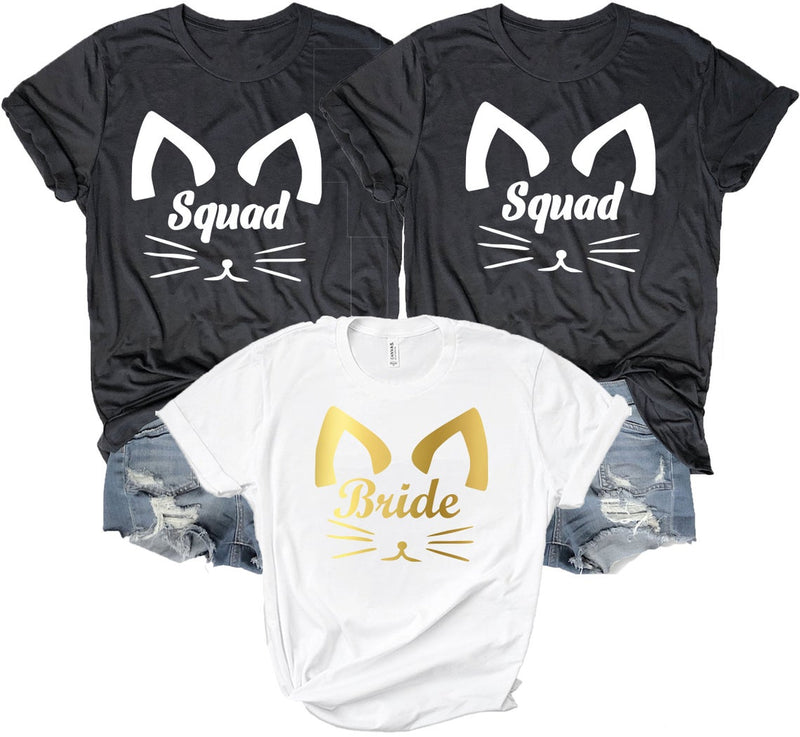 Cat Squad Bride T Shirts - BachelorettePartyUs