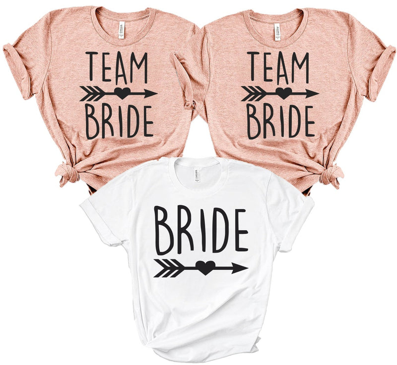 Team Bride | Bride and Bridesmaid Party T-shirts - BachelorettePartyUs