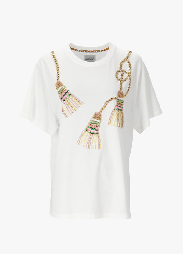 TASSELS BEADED T - SHIRT