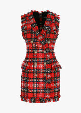 BALMAIN SLEEVELESS TARTAN DRESS Dresses 300011323