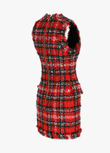 BALMAIN SLEEVELESS TARTAN DRESS