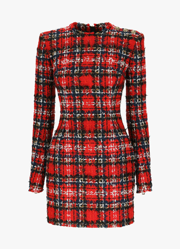 BALMAIN SHORT TARTAN DRESS