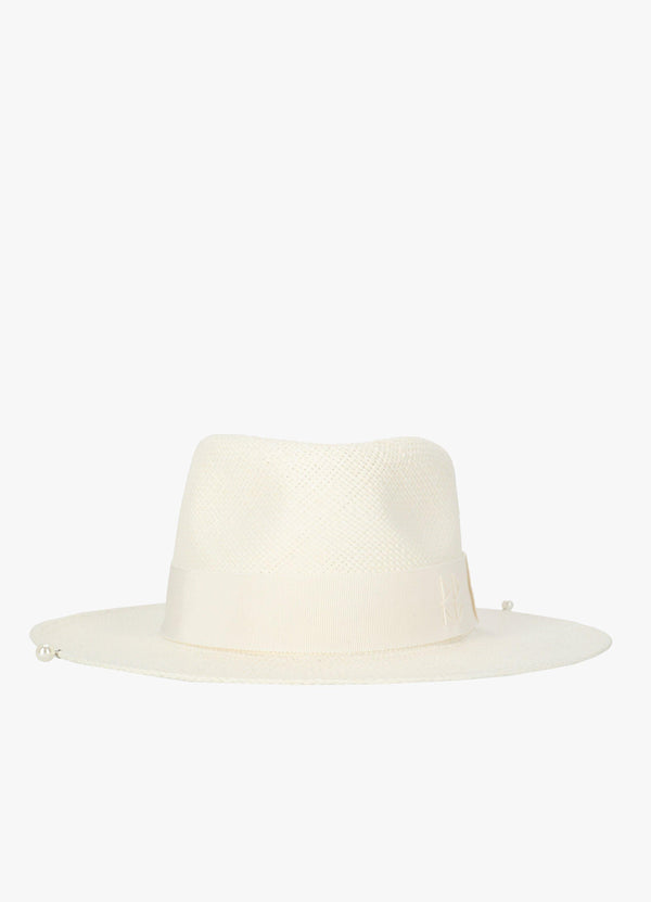 STRAW FEDORA HAT WITH PEARLS