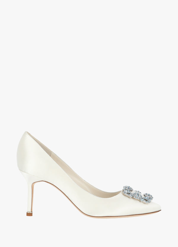 MANOLO BLAHNIK SATIN JEWEL BUCKLE PUMPS High Heels 300011224