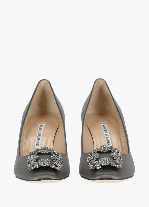 MANOLO BLAHNIK SATIN JEWEL BUCKLE PUMPS