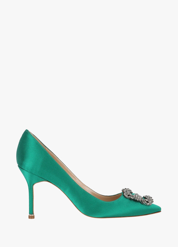 MANOLO BLAHNIK SATIN JEWEL BUCKLE PUMPS High Heels 300011230