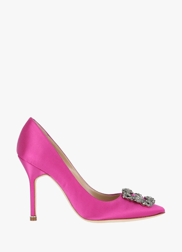 MANOLO BLAHNIK SATIN JEWEL BUCKLE PUMPS High Heels 300010398