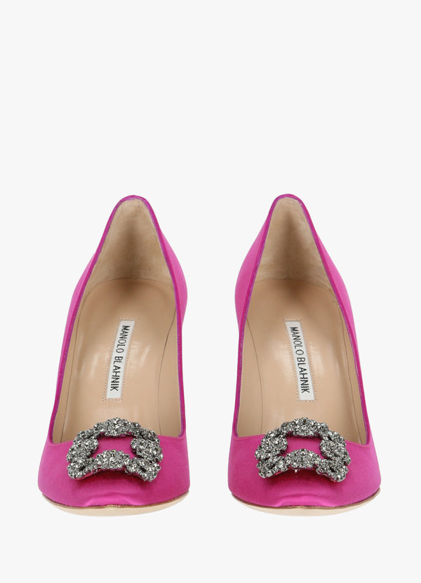 SATIN JEWEL BUCKLE PUMPS