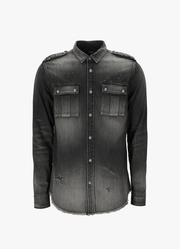 BALMAIN DISTRESSED DENIM SHIRT Shirts 300034513