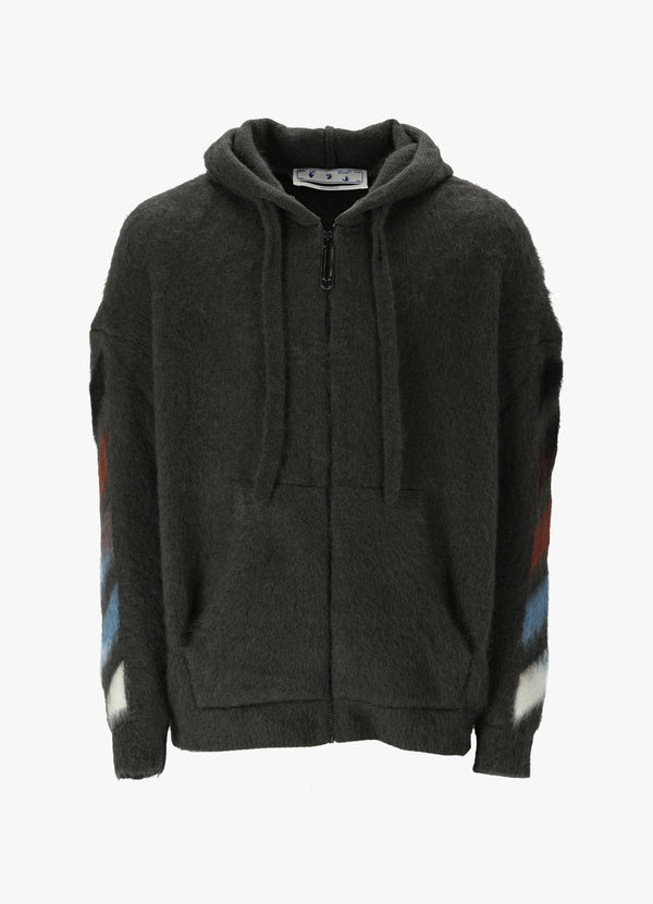 OFF-WHITE DIAG BRUSHED HOODED SWEATER