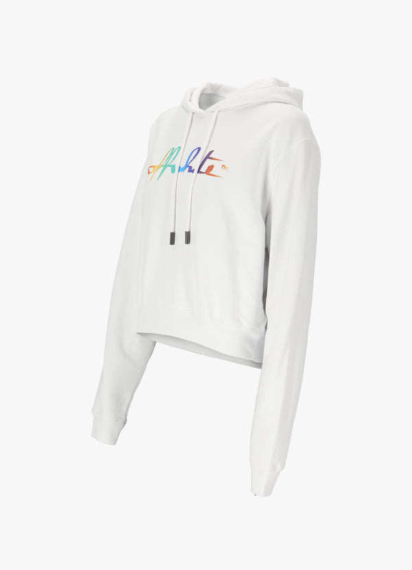 OFF-WHITE RAINBOW CROPPED HOODIE