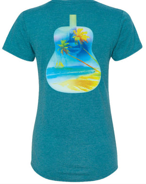 ESCAPE TO MARGARITAVILLE Fitted Guitar Tee - Blue