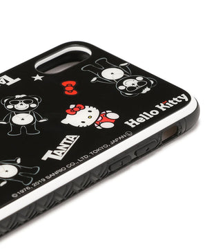 black iPhone 10 glass case with rubber bumper by TANTA in collaboration with HELLO KITTY right view