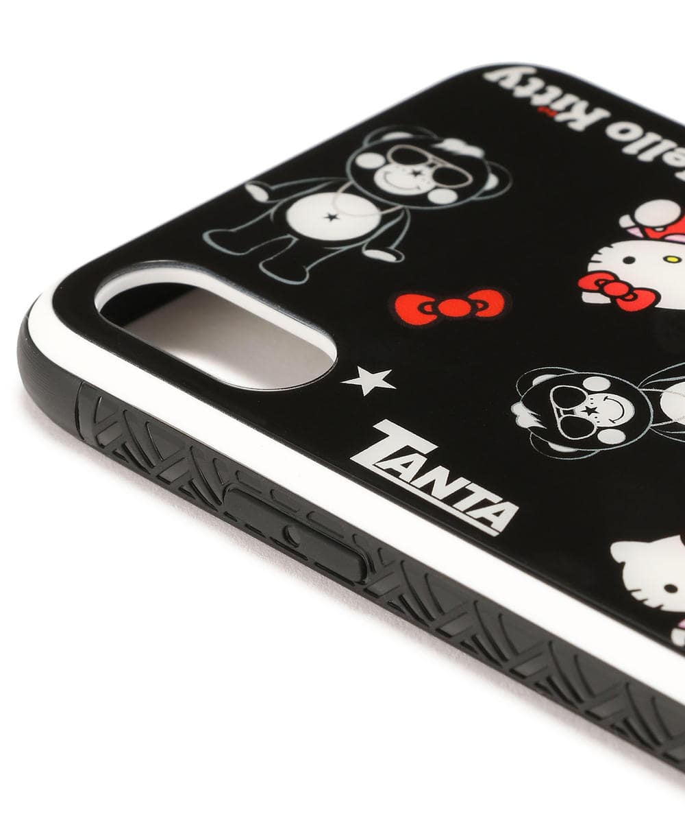 black iPhone 10 glass case with rubber bumper by TANTA in collaboration with HELLO KITTY camera hole