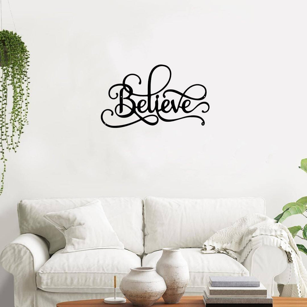 Believe Fancy Script - Metal Decor