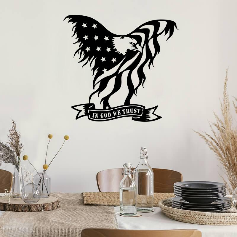 Soaring Eagle Flag - Metal Decor