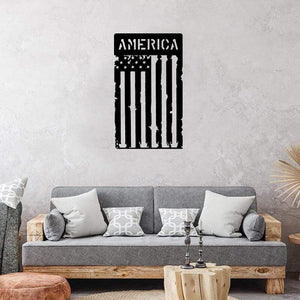 America Tattered Flag - Metal Decor