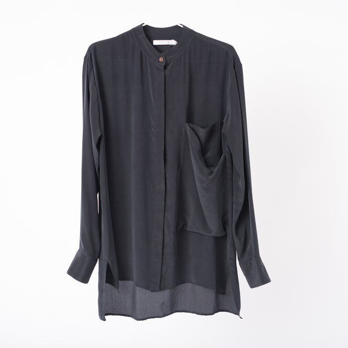 Mandarin Collar Shirt: Black