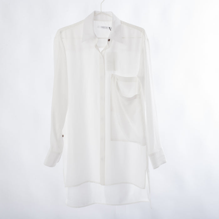 Drape Pocket Collared Shirt: Bone