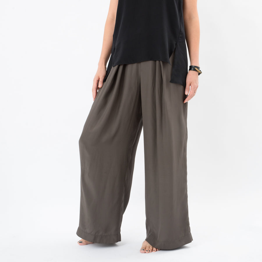Silk Pleated Wide Leg Pants: Olive