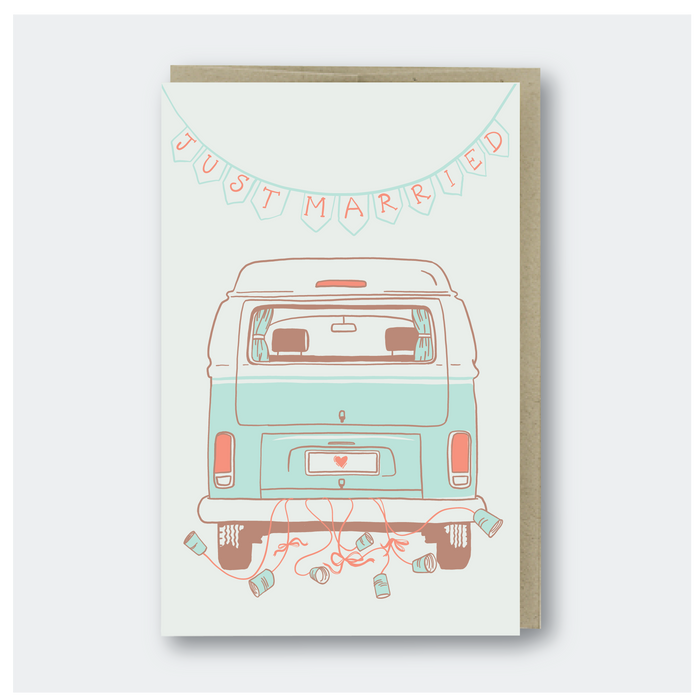 Just Married Camper Van Greeting Card