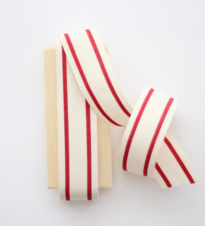 Red Striped Cotton Ribbons 1-1/2