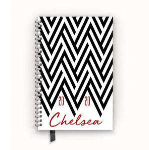 2020 FlexPad Personalized Planner Chevron Black and White