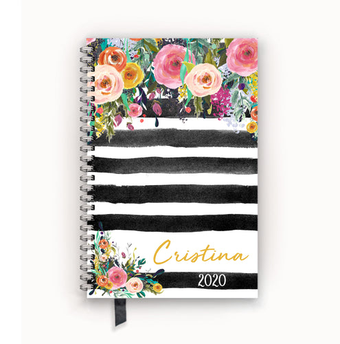 2020 FlexPad Personalized Planner Watercolor Floral on Black Stripes