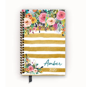 2020 FlexPad Personalized Planner Watercolor Floral on Butterscotch Stripes
